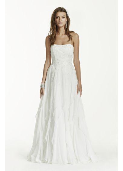 Strapless A-Line Chiffon Ruffled Wedding Dress | David\'s Bridal
