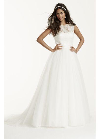 cap sleeve tulle wedding dress with illusion neck david s bridal