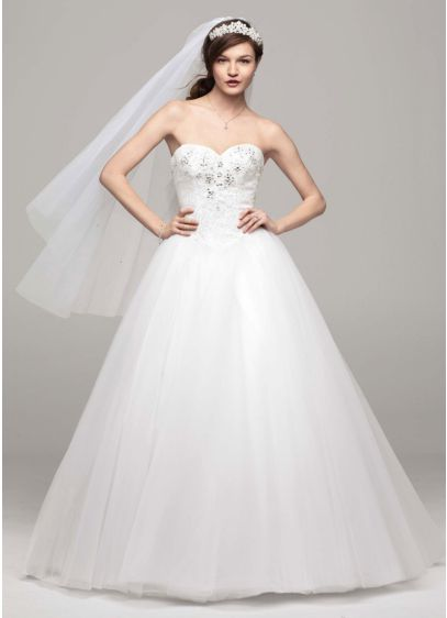 Strapless Tulle Wedding Dress With Beaded Bodice David S Bridal