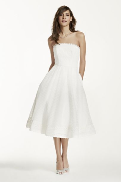 dress to wear to a wedding as a guest strapless tea length dress with raschel lace davids bridal 3705