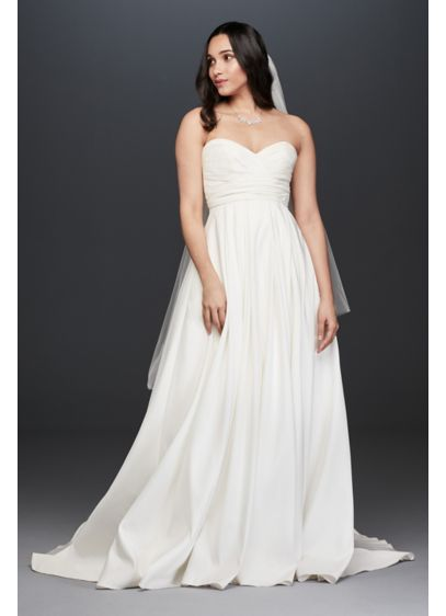 cd02c14fd4 Pleated Strapless Wedding Dress with Empire Waist | David's Bridal