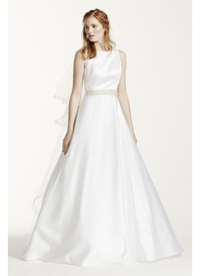 High Neck Satin Wedding Dress with Open Back | David\'s Bridal