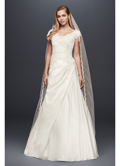 Appliqued Gathered Satin A-Line Wedding Dress - Gently scalloped beaded lace appliques form the neckline,