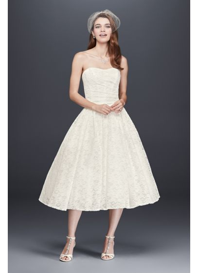 Tea Length Drop Waist Lace Wedding Dress - For the trend-setting bride looking to make a