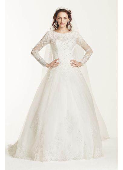 Jewel Long Sleeve Drop-Waist Tulle Wedding Dress | David\'s Bridal