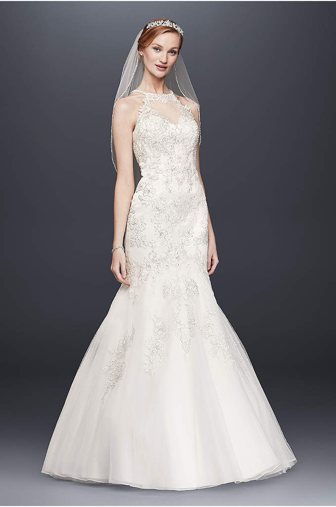 Jewel Lace and Tulle Illusion Neck Wedding Dress - The lace-appliqued high illusion neckline and back of