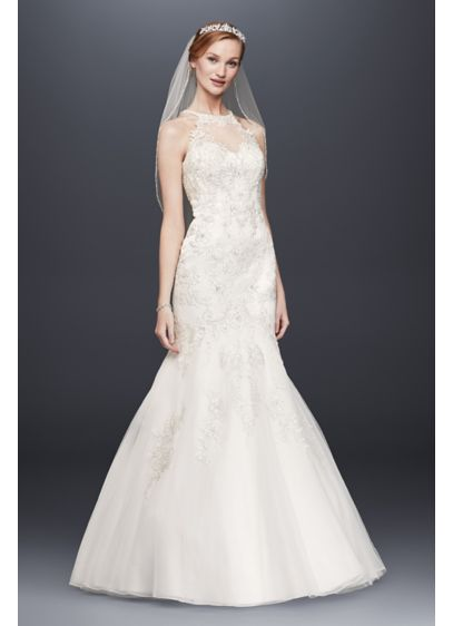 77d753818950 Jewel Lace and Tulle Illusion Neck Wedding Dress | David's Bridal
