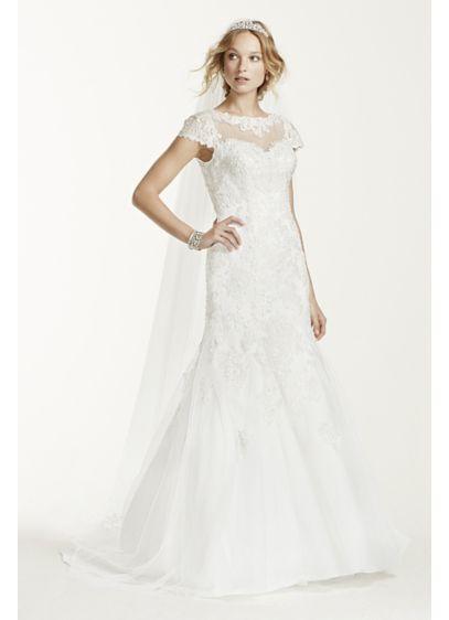 Jewel lace cap sleeve open back wedding dress davids bridal jewel lace cap sleeve open back wedding dress junglespirit Choice Image