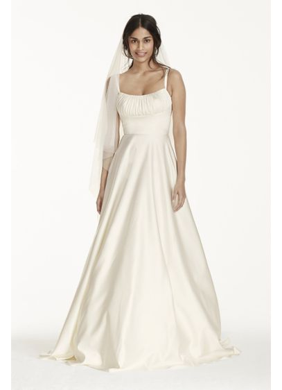 Satin Empire Wedding Dress with Spaghetti Straps | David\'s Bridal