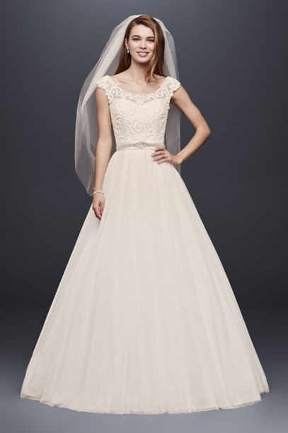 Tulle Wedding Dress With Lace Illusion Neckline David S Bridal
