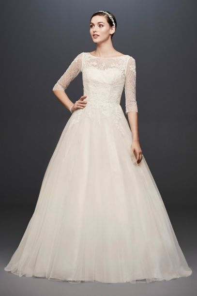 3 4 Sleeve Wedding Dress With Lace And Tulle Skirt David S Bridal