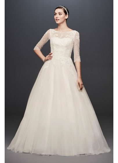 3/4 Sleeve Wedding Dress with Lace and Tulle - Featuring 45 expertly detailed yards of lace-appliqued tulle,