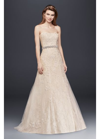 Jewel Lace A-Line Wedding Dress with Beading - Effortlessly beautiful, this strapless A-line wedding gown shimmers