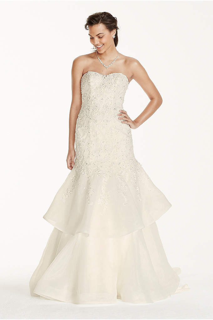 Jewel Organza Trumpet Wedding Dress with Lace - Turn heads on your wedding day in this