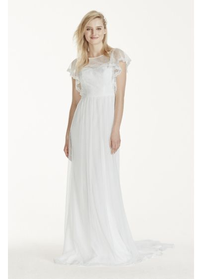 Long Sheath Romantic Wedding Dress - Galina