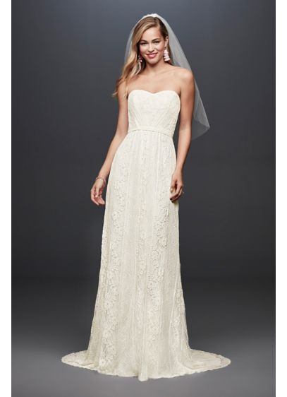 bf9ca82489 Galina Strapless Linear Lace Sheath Wedding Dress | David's Bridal