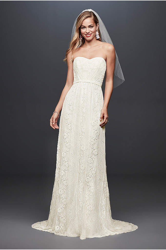 Galina Strapless Linear Lace Sheath Wedding Dress - This strapless, linear lace wedding dress is just