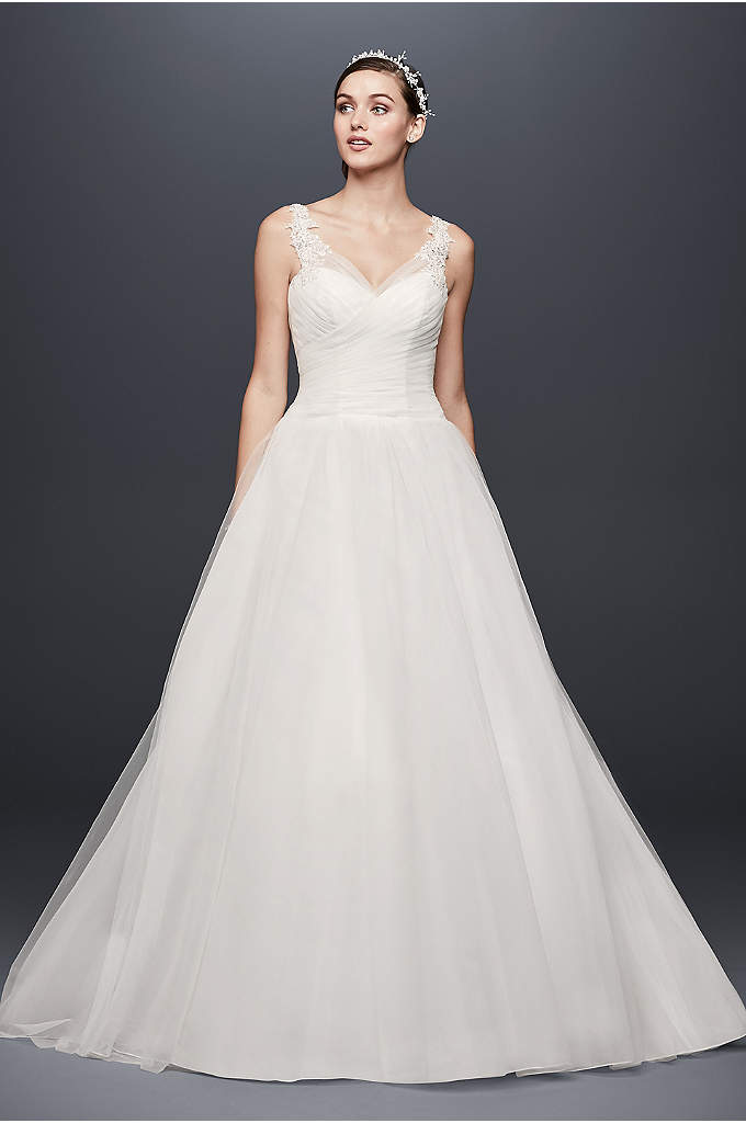 tea length tulle illusion neckline wedding dress