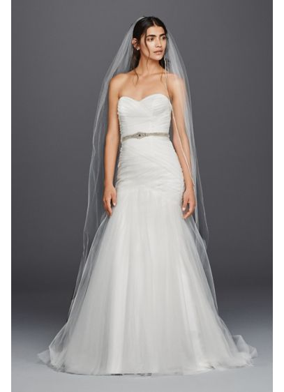 cb5f42b7375 Strapless Ruched Mermaid Tulle Wedding Dress