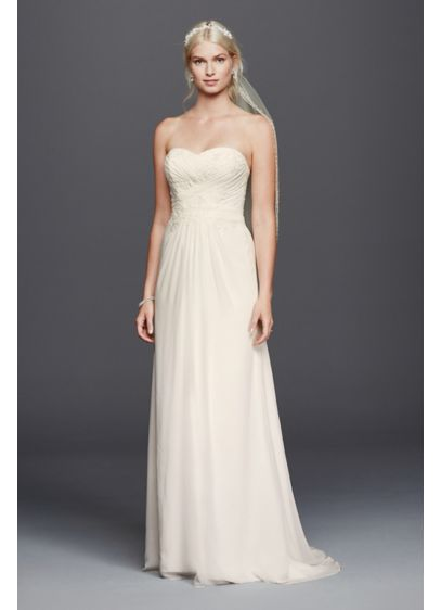 Chiffon Lace Sweetheart Wedding Dress - Simply stunning, this strapless chiffon sheath wedding dress