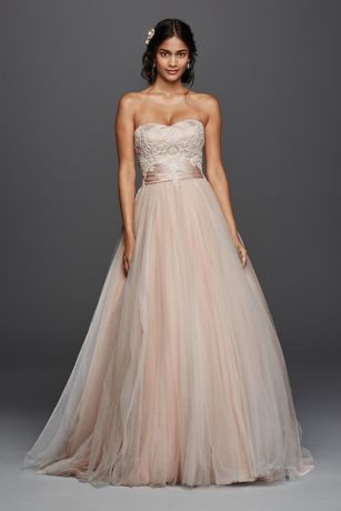 Jewel strapless tulle beaded lace wedding dress davids bridal mouse over to zoom junglespirit Image collections