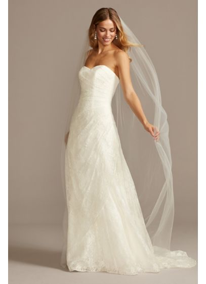 Allover Lace A-Line Strapless Wedding Dress | David\'s Bridal