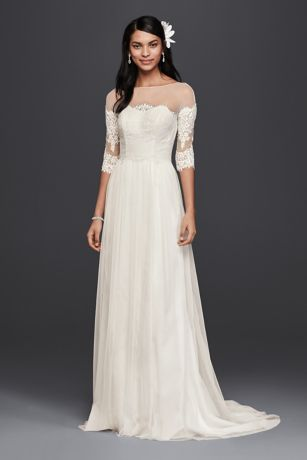 lace sleeved wedding dresses wedding dress with lace sleeves david s bridal 5371
