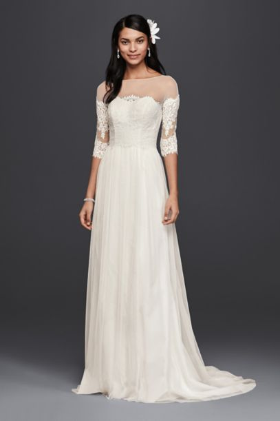 lace sleeved wedding dresses wedding dress with lace sleeves davids bridal 5371
