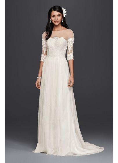 Wedding Dress with Lace Sleeves - Carefully placed lace gives the illusion of an
