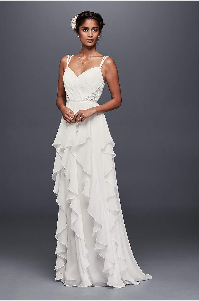 Ruffled Chiffon Wedding Dress with Lace Back - Crinkled chiffon ruffles dreamily cascade from the sweetheart