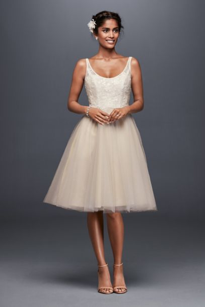 Tulle And Embroidered Lace Short Wedding Dress David S Bridal