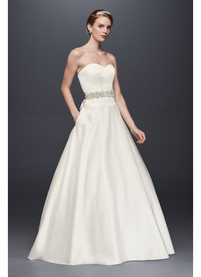 Satin Sweetheart Ball Gown with Button Back | David\'s Bridal