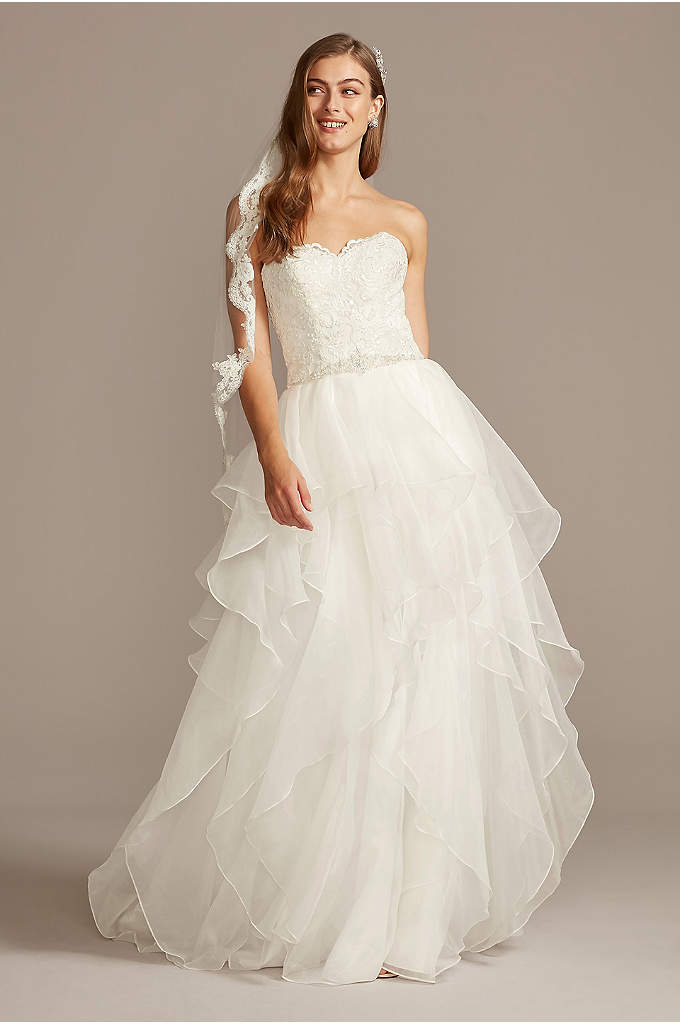 Lace And Organza Wedding Ball Gown With Beading Davids Bridal