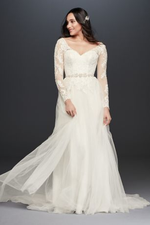 Long sleeve wedding dress with low back davids bridal mouse over to zoom junglespirit Gallery