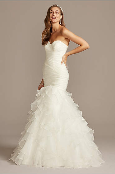 Organza Mermaid Wedding Dress with Ruffled Skirt