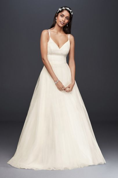 simple plus size wedding dresses pleated tulle gown wedding dress david s bridal 7491