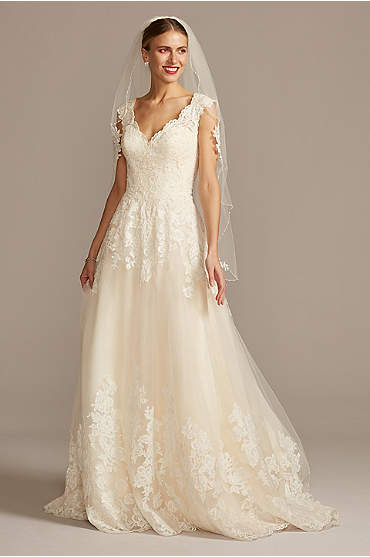 Scalloped V-Neck Lace and Tulle Wedding Dress