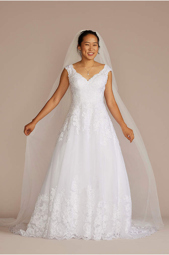 Scalloped V Neck Lace And Tulle Wedding Dress Davids Bridal