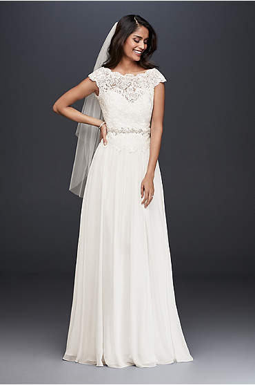 Illusion Lace and Chiffon A-Line Wedding Dress