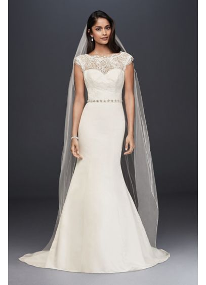 Illusion Lace And Satin Mermaid Wedding Dress David S Bridal