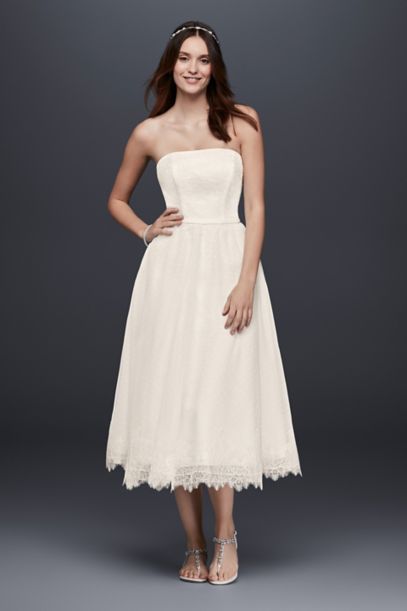 Dotted Tulle Tea Length Wedding Dress With Lace
