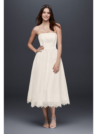 Dotted Tulle Tea-Length Wedding Dress with Lace - Perfect for simple weddings or pre-wedding events, this
