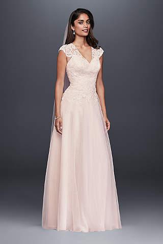Pink wedding dresses gowns davids bridal long a line romantic wedding dress davids bridal collection junglespirit Images