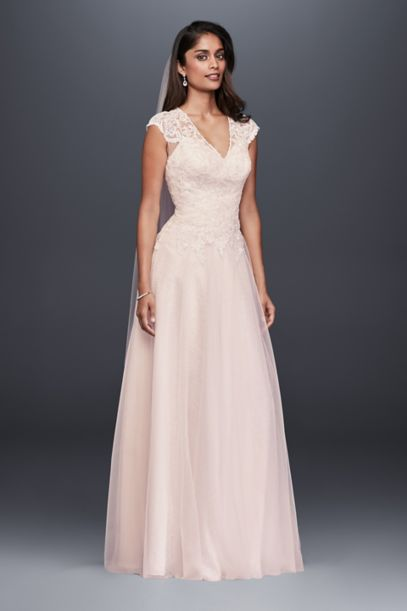 Tulle Over Lace V Neck Ball Gown Wedding Dress Davids Bridal