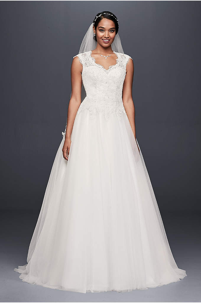 Cap Sleeve Lace and Tulle Ball Gown Wedding - A corded lace, drop-waist bodice tops the full