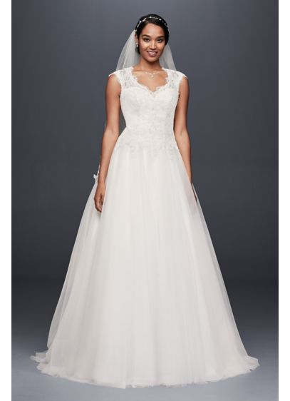 Cap Sleeve Lace And Tulle Ball Gown Wedding Dress David S Bridal