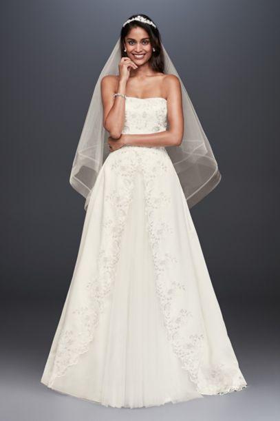 Embroidered Satin Split Ball Gown Wedding Dress Davids Bridal