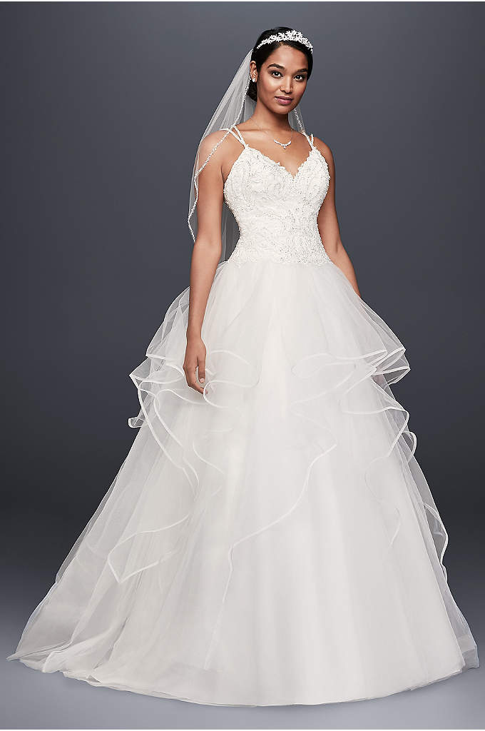 Embroidered Lace and Tiered Tulle Wedding Dress - This tulle ball gown features a sweetheart bodice
