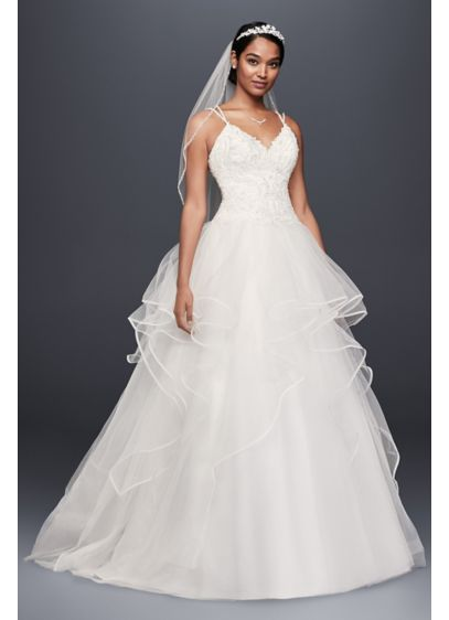 Embroidered Lace And Tiered Tulle Wedding Dress David S Bridal