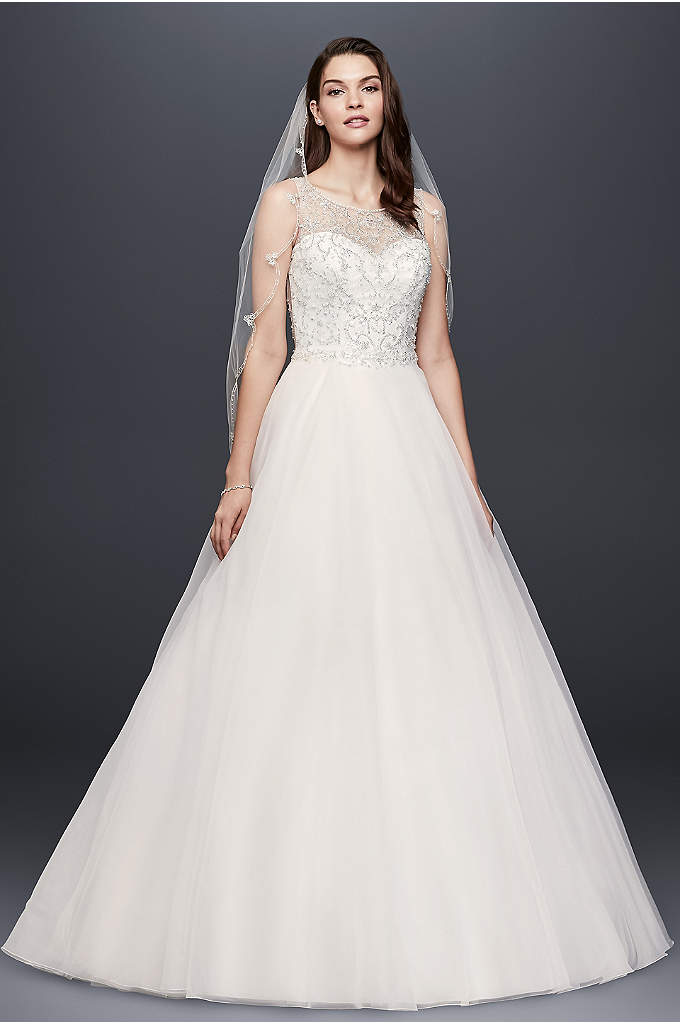 Beaded Organza Ball Gown Wedding Dress - This organza ball gown features an illusion neckline